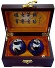 保定铁球王铁匠品牌健身球 保定特产 高档木盒熊猫景泰蓝保健球