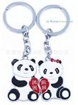 供应【心虹】情侣钥匙扣 金属大熊猫钥匙扣 卡通动物钥匙扣 定做