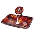 洗脸盆,双层钢化玻璃盆,面盆,手绘雕刻艺术玻璃台盆,贴箔艺术