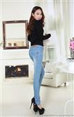 春装新款2014女式哈伦韩版牛仔裤潮修身显瘦中腰弹力小脚铅笔长裤