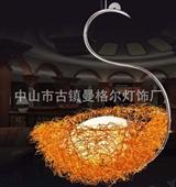 全手工编织铝线艺术吊灯农家乐鹅蛋形餐厅卧室吊灯吧台店面灯