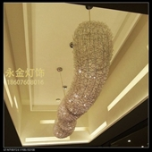厂家订制各种酒店管状条形铝线造型大吊灯,长4米直径800工程灯具