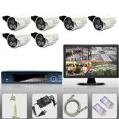 集成监控系统-6路监控套装 设备 家用安防 闭路电视频监视器材 成套系统 防盗-...