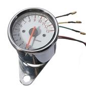 摩托车电器与仪表-批发摩托车电子转速表 改装电感转速表指针式白色底盘仪表B717...