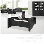 大班桌-【冠铭】GM-BP012皮质班台 外贸皮办公桌 黑色皮班台 休闲经理桌-...