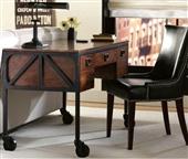 桌类、茶几-美式乡村实木铁艺书桌 办公桌 复古 做旧写字台-桌类、茶几尽在阿里巴...