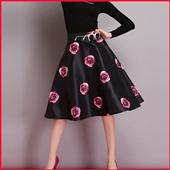 半身裙-欧洲站新款女装2014欧美时尚气质印花朵蓬蓬半身裙子一件代发代理-半身裙...
