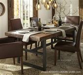 餐桌-美式乡村实木铁艺餐桌 饭桌餐桌椅组合 办公桌饭店长餐桌 批发-餐桌尽在阿里...