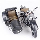 摩托车模型_怀旧装饰铁皮车模 宝马军用边三轮摩托车2821 -