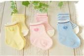 儿童袜-6色新生儿条纹爱心袜子 宝宝防滑袜松口童袜 新生儿童棉袜 W036-儿童...