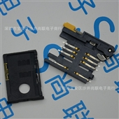 连接器-自弹式SIM卡座 6+2P 抽屉式 黄色柄 全塑 手机卡座-连接器尽在阿...