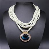 珍珠项链_甜美气质多层珍珠蓝宝石项链短款锁骨链 韩国时尚女 -