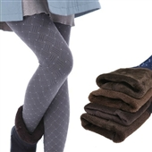 加厚打底裤_秋冬保暖一体裤批发 韩版雪花加绒加厚打底裤抓绒女裤 -
