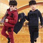 童套装-韩版男童中大童童套装 保暖卫衣三件套童装 加绒加厚秋冬款童装-童套装尽在...