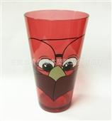 批发采购杯子-批发供应 直身形塑胶水杯、果汁杯 杯身印刷图案 三色系列批发采购-...
