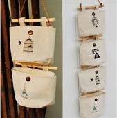 床头储物_挂袋 衣柜布艺壁挂 墙上怀旧棉麻储物 -