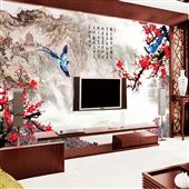 墙纸、壁纸-中式3d立体大型壁画 电视背景墙纸壁画 厂家定制家装影视无缝墙布-墙...