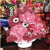 创意摆件_粉红色干花精品批发创意摆件包邮客房客厅设计花瓶华贵特 -