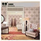 墙纸、壁纸-奇春无缝墙布QC35系列 欧式奢华刺绣3D壁布 卧室客厅床头电视背景...