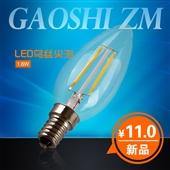 LED蜡烛灯-乐柯斯 LED钨丝灯泡E14尖泡 蜡烛灯泡 1.6W 蓝宝石灯丝支...